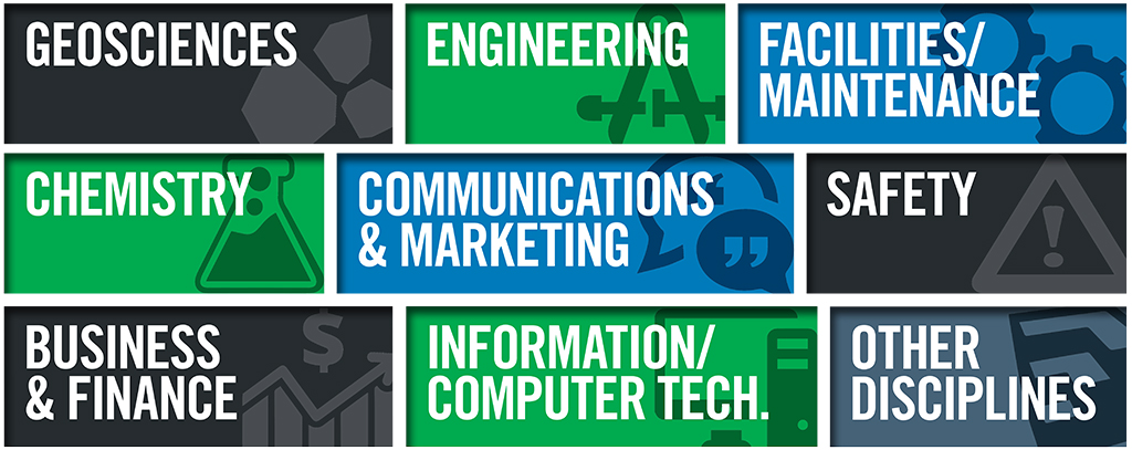 Students work in a variety of fields, including geosciences, engineering, facilities & maintenance, chemistry, communications & marketing, safety, business & finance, it & computer technology, and other disciplines.